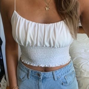 Urban Outfitters Emma Cupro Smocked Cami